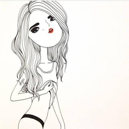 女生个性卡通类人物头像,简约素描风格清爽个性