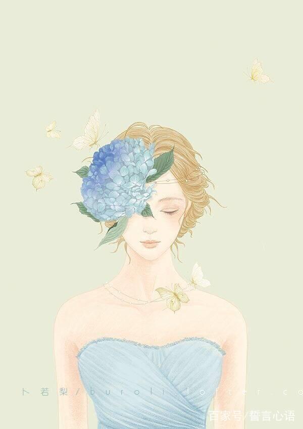 戴花的露肩装女人手绘美图,美美的感觉很仙女套图1