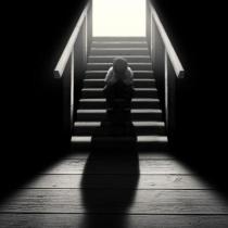 最原始的黑白色彩流露出伤感,一个人的伤感人物图片