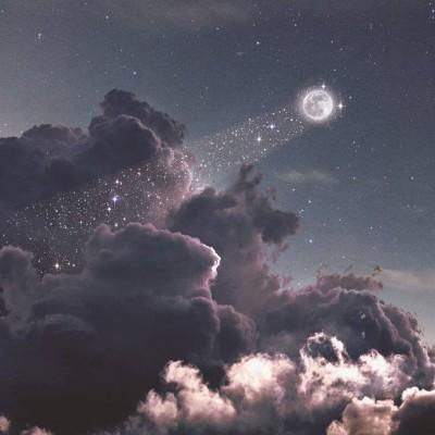 唯美梦幻星空,月亮,星星,云儿等微信风景头像