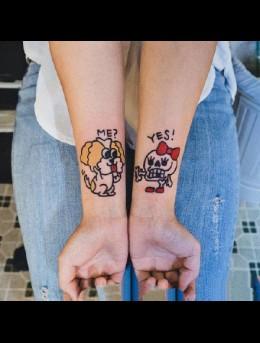 这是海盗情侣吗?可爱好玩的海盗骷髅头通纹身小图案