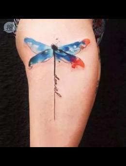彩绘纹身之昆虫、菊花、羽毛等炫彩纹身图案男手臂图片
