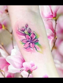 色彩分明的彩色清新手臂小纹身动植物小图案