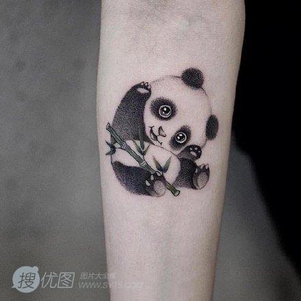 熊猫纹身图案,超级可爱萌的国宝熊猫纹身图案和手稿套图1