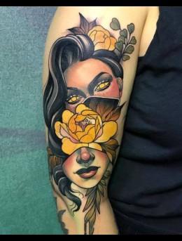 新潮新派风格的欧美女人像大手臂纹身男图案