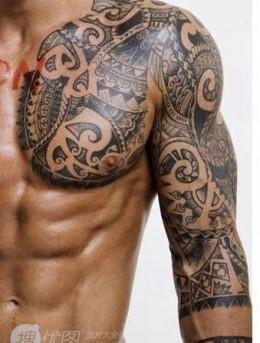 半甲纹身男图案,炫酷个性的男生半甲纹身图片集