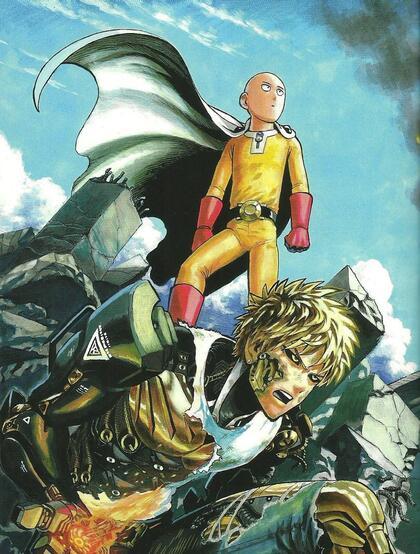 战斗中的杰诺斯和埼玉(一拳超人)高清图片