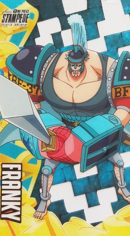多色格子背景海贼王主要人物的手机壁纸