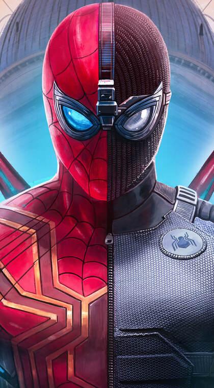 漫威漫画人物蜘蛛侠红白外套拼接帅气手机壁纸图片