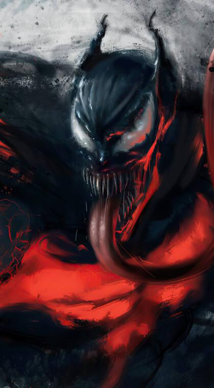 漫威人物伸着大红舌头的毒液手机壁纸