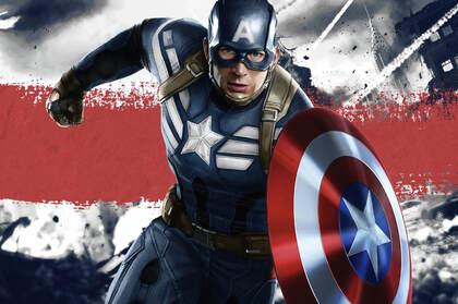 复仇者联盟精神支柱美国队长帅气冲锋桌面壁纸