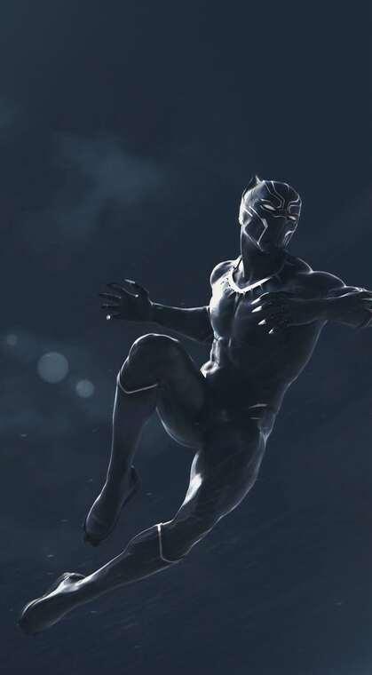 飞身跃起的漫威超级英雄黑豹