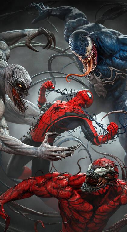 漫威人物蜘蛛侠和毒液的个性插画手机壁纸图片