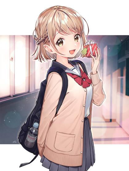 穿着可爱学生制服,短裙,长筒丝袜的二次元动漫美少女高清图集欣赏