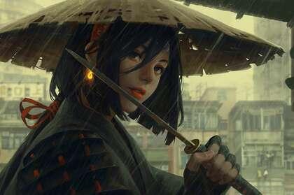 在雨中,戴着斗笠,手拿长匕首的二次元动漫女武士角色壁纸图片