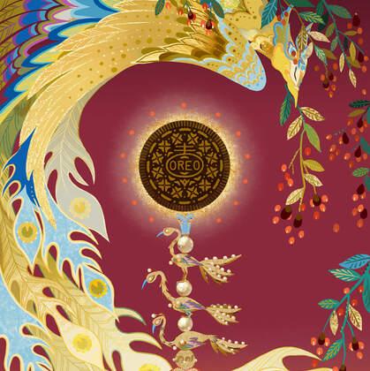 凤冠,朱钗,福禄 国风,古风素材品牌插画图片