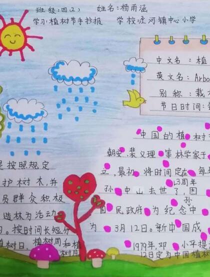 植树节手抄报,小学生纯手写设计绘画的植树节手抄报作品图片欣赏