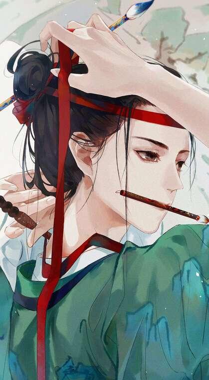古风,口衔毛笔,头戴丝巾的古风女子唯美动漫手机壁纸图片