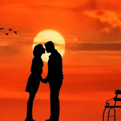 才下眉头,却上心头 画风超美的情侣,玩伴,小伙伴 爱情手绘插画图片