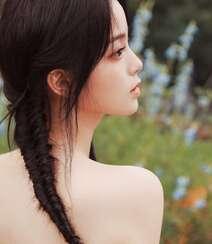 欧阳娜娜甜美清新抹胸印花裙街拍写真图片组图8