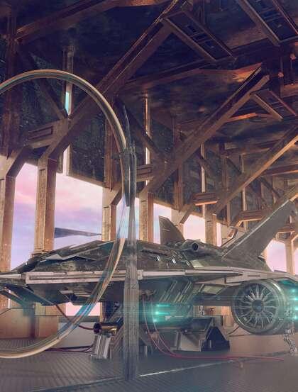 未来、科技、科幻,空间站,飞船,科技感十足的创意美图