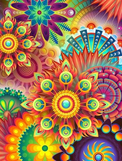 多彩抽象几何花卉装饰设计创意美图