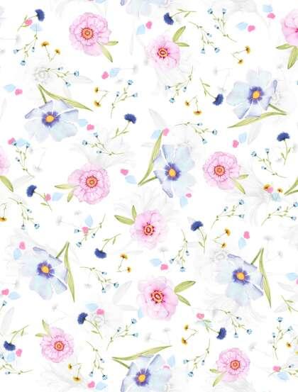 印花花布,画布,壁纸,粉蓝相间的创意雏菊背景美图