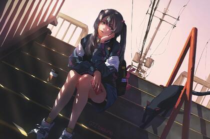 夏日,坐在台阶阴凉处的二次元双马尾学生装美少女高清1080壁纸图片