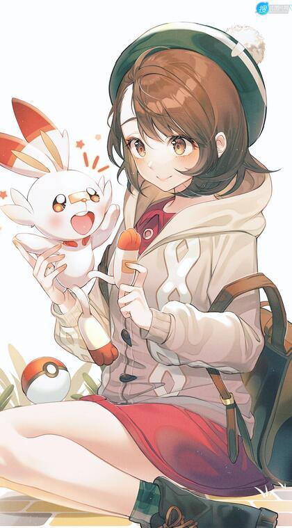 动漫短裙学生妹和她的可爱小白兔宠物唯美高清手机壁纸图片