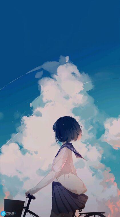 牵着自行车行走在蓝天白云下的动漫学生妹子高清手机壁纸图片