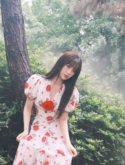 虞书欣在雾气袅绕的微光森林中 身着玫瑰花长裙安静优雅写真图片