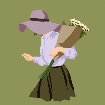 手捧鲜花的卡通手绘男人或女人一左一右情侣配对好看的不易撞专用头像图片