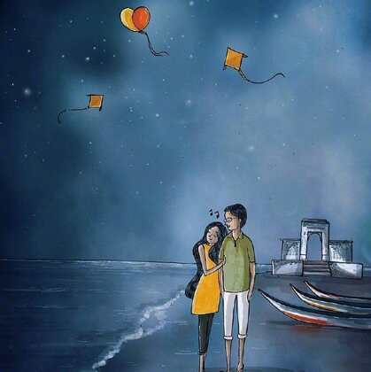 享受爱情的浪漫情侣  你喜欢粘着在一起约会谈心的那个人唯美手绘图片