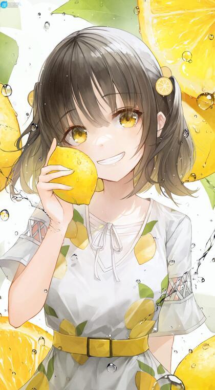 手拿柠檬贴脸的可爱束腰裙动漫美少女高清2K插画手机壁纸图片