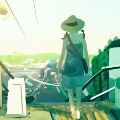 二次元夏日场景插画图片,安静的夏日时光,能不能悄悄留下来呢?