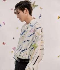 被蝴蝶环绕的少年,王源清新帅气白色印花衬衫穿着写真图片组图6