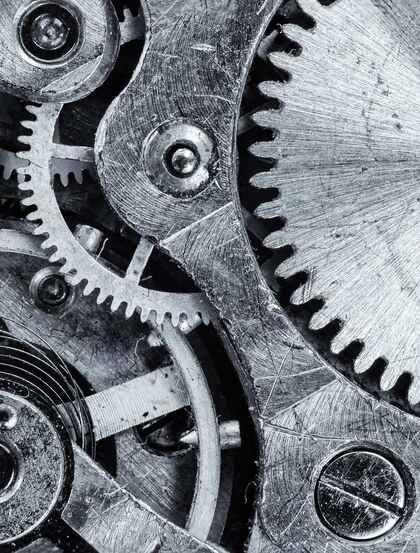 环环相扣的金属齿轮,机械机器齿轮高清图片