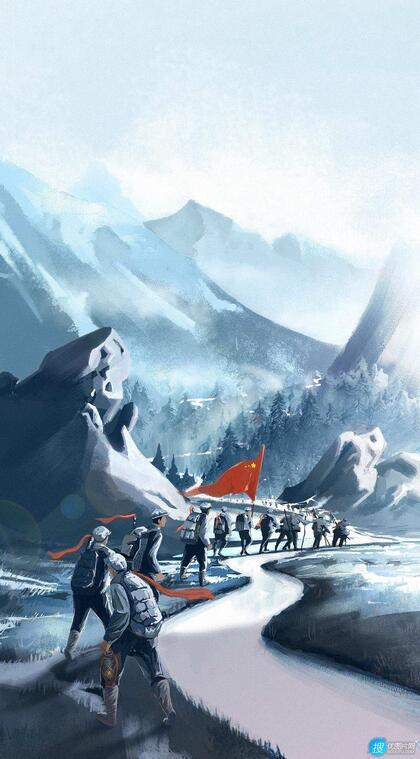 红军过雪山手绘创意手机壁纸图片