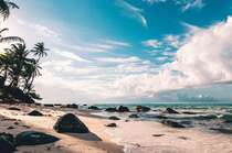 蓝天,白云,海浪,沙滩,礁石,椰树,唯美海边景色壁纸图片