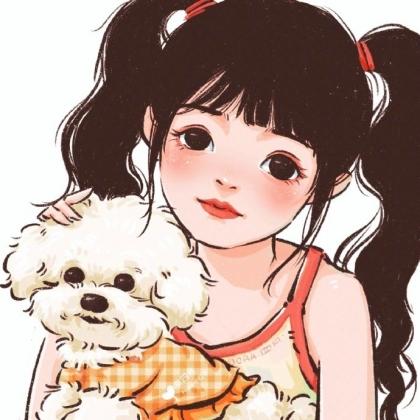 抱着可爱狗狗,或小猫咪的手绘卡通头像女生唯美可爱高清头像图片