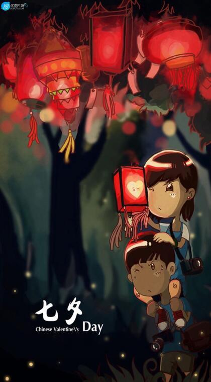 七夕DAY节日,骑在男生肩部上手拿灯笼的卡通情侣浪漫手机壁纸图片