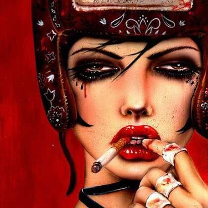 抽烟的女人插画头像,酷飒,叛逆,非主流抽烟女生插画头像图片