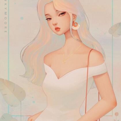 卷发性感有气质的,2021最新款吊带裙动漫卡通美女专用插画头像图片
