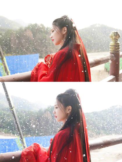 白鹿一袭古风新娘装红裙造型凄美艳丽,电视剧《周生如故》幕后写真照