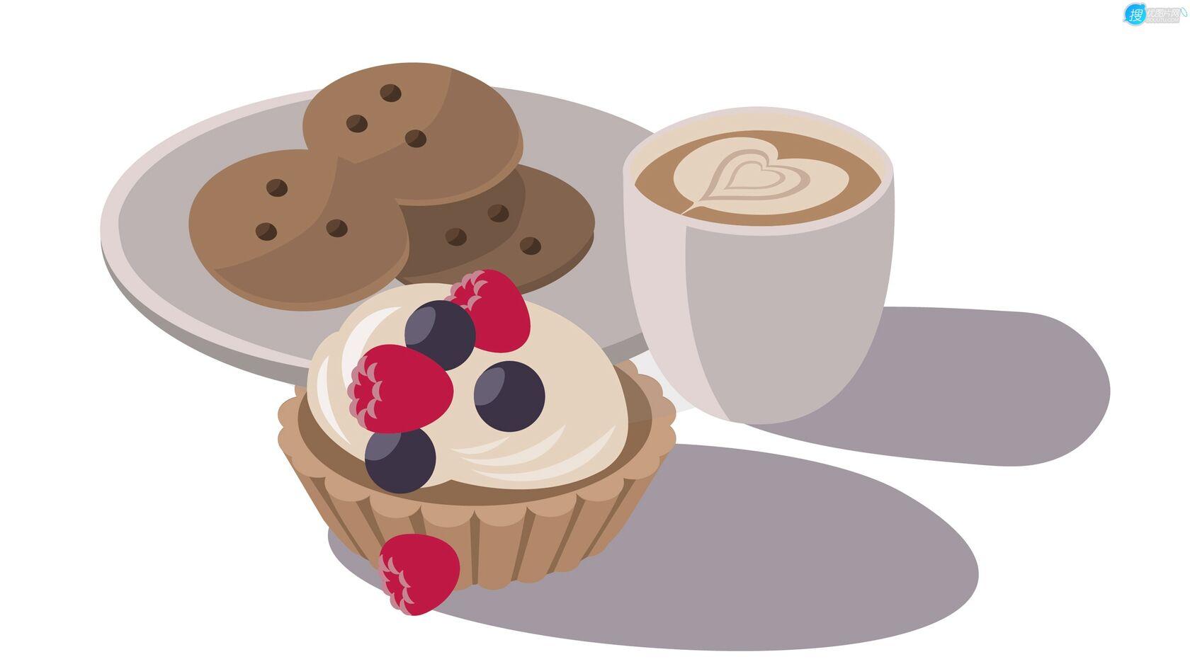 咖啡,面包,水果蛋糕,简约早点,早餐插画壁纸图片