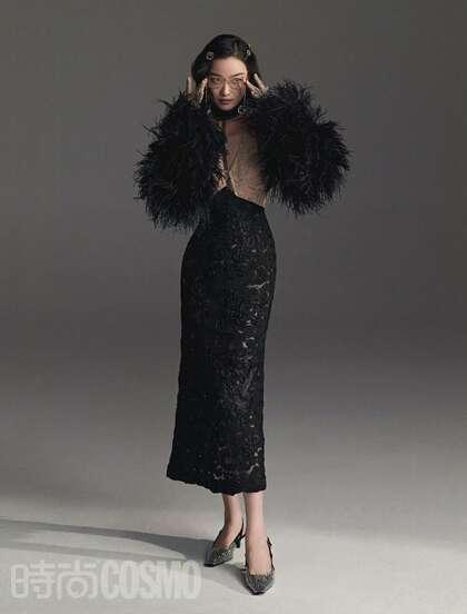 倪妮性感复古裙装穿搭优雅气质美照