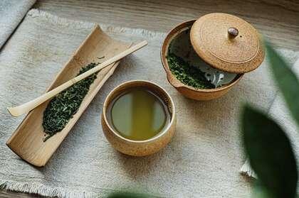 绿茶,茶水,陶罐,容器,茶道唯美壁纸图片