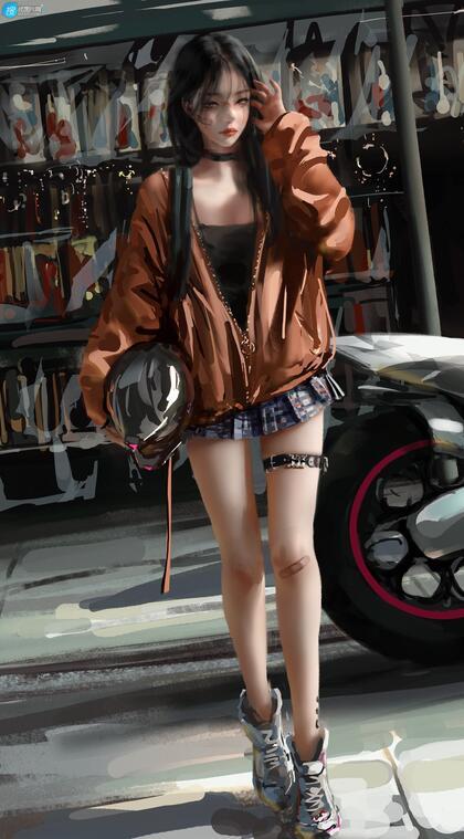 手抱头盔的时尚,个性,酷飒二次元短裙机车少女高清插画手机壁纸图片